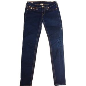 True Religion Sz 27 Dark Rinse Skinny Jeans